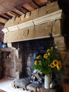 Lanrivain : Manoir du Gollodic, cheminée de la salle manale